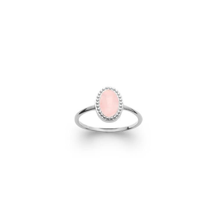 Bague pierre naturelle quart rose ovale