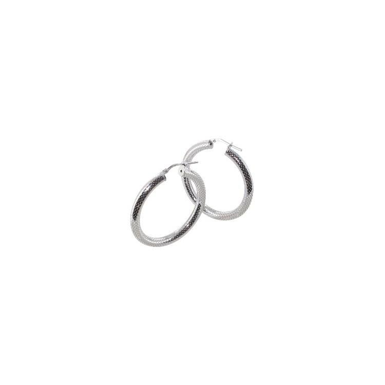 Boucles d'oreilles créoles argent rhodié piquetée