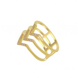 Bague plaqué or flèches en 3 anneaux