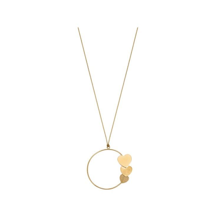 Sautoir chaîne et pendentif cercle 3 Cœurs en or