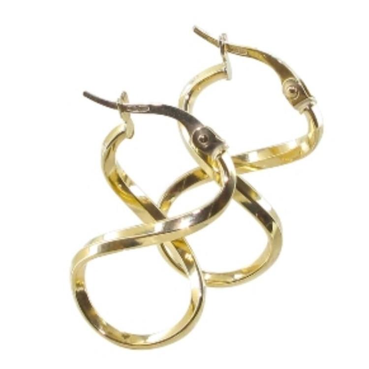 Boucles d'oreilles créoles or 18 carats lisse forme huit