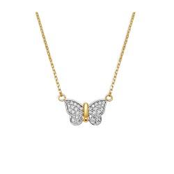 Collier plaqué or femme papillon