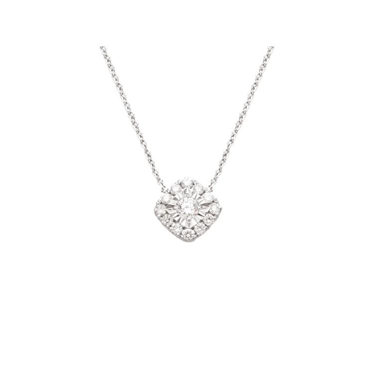 Collier or blanc diamant carré pastille